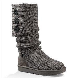 UGG Classic Cardy Button Detailed Knit Boots Gray